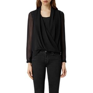 NWT AllSaints New Abi Sleeve Blouse Size 2
